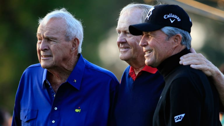 Honorary Starters Arnold Palmer, Jack Nicklaus  and Gary Player at the 2015 Masters.