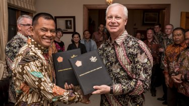 Happier times: General Gatot Nurmantyo and Australian Defence chief Air Marshal Mark Binskin after signing a statement on defence co-operation in October.