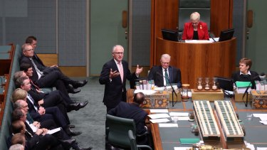 Malcolm Turnbull speaks during a condolence motion for former prime minister Gough Whitlam.