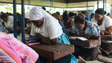 A Sunday church service in Auki, the capital of Malaita.