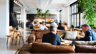 The Hub in Melbourne includes meeting rooms, high-tech spaces, a library, gym, meditation room and cafe.