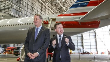 American Airlines CEO Doug Parker, left, with Qantas CEO Alan Joyce in Sydney  before the launch of American's Sydney-Los Angeles flights.