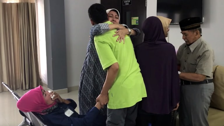 Emotional scenes: the video ends by showing Indonesians who have returned from Syria being welcomed by their relatives.