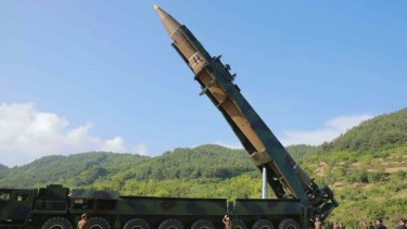 A file photo of what North Korea says was the launch of a Hwasong-14 intercontinental ballistic missile in early July.