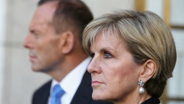 Tony Abbott with Julie Bishop during the press conference.