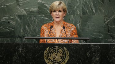Foreign Affairs Minister Julie Bishop speaks during the 70th session of the United Nations General Assembly at UN headquarters in September.