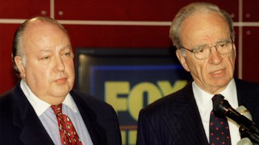 News Corp chief Rupert Murdoch (right) with Roger Ailes, who launched Fox News two decades ago.