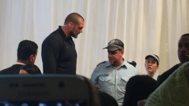 The Jenner's bodyguard Pascal Duvier on stage with NSW Police after the incident.