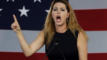 Former Miss Universe Alicia Machado gestures before a speech by Democratic presidential candidate Hillary Clinton in Florida on Tuesday.