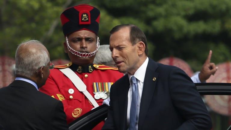 Tony Abbott at the last CHOGM meeting in November 2013 in Sri Lanka.