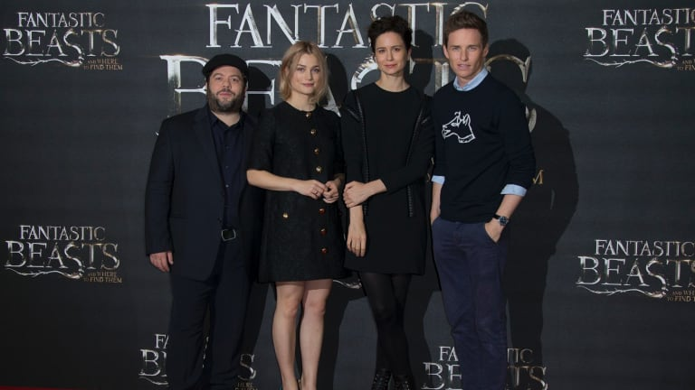 Actors Dan Fogler, Alison Sudol, Katherine Waterston and Eddie Redmayne at a photo call for 'Fantastic Beasts and Where to Find Them' in London.