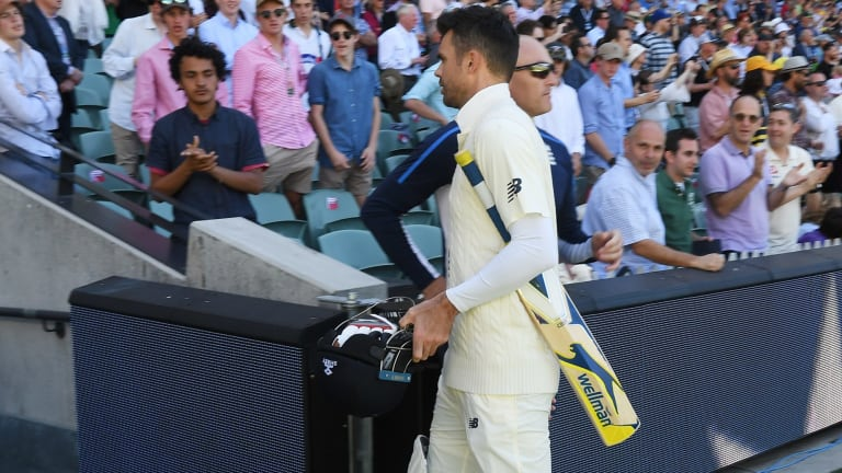 In no hurry: James Anderson has plenty of time to get back to the hotel.