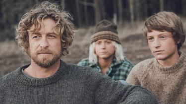 Simon Baker (left) and the cast of the film Breath, based on the Tim Winton book.