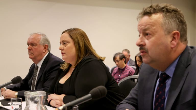7-Eleven founder and former chairman Russ Withers, left, and former general manager operations Natalie Dalbo faced a Senate grilling.
