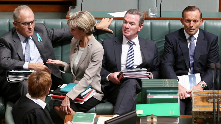 Communications Minister Malcolm Turnbull, Foreign Minister Julie Bishop, Education Minister Christopher Pyne and Prime Minister Tony Abbott.