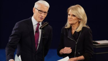 In the ring: The moderators of the second presidential debate, Anderson Cooper of CNN, and Martha Raddatz of ABC News.