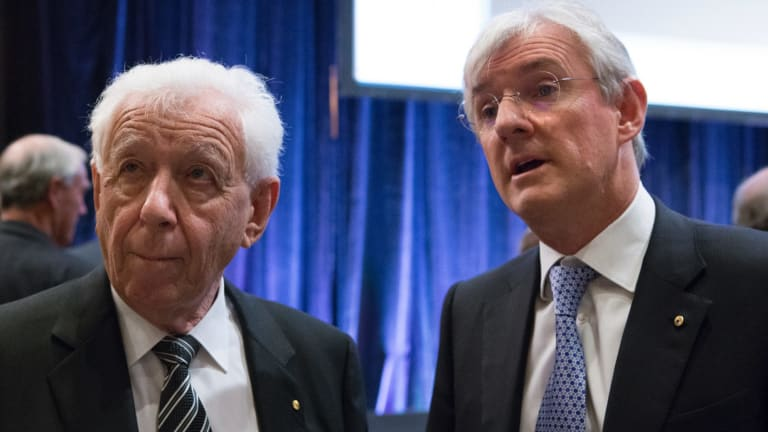 Despite FFA's congress proposal being voted down, Steven Lowy (right), the successor to his father Frank Lowy (left) as FFA chairman, is clinging onto power.