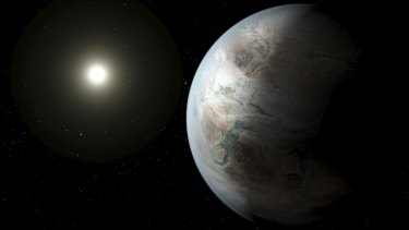 An artist's impression of one possible appearance of the planet Kepler-452b, the first near-Earth-size world to be found in the habitable zone of a star that is similar to our sun