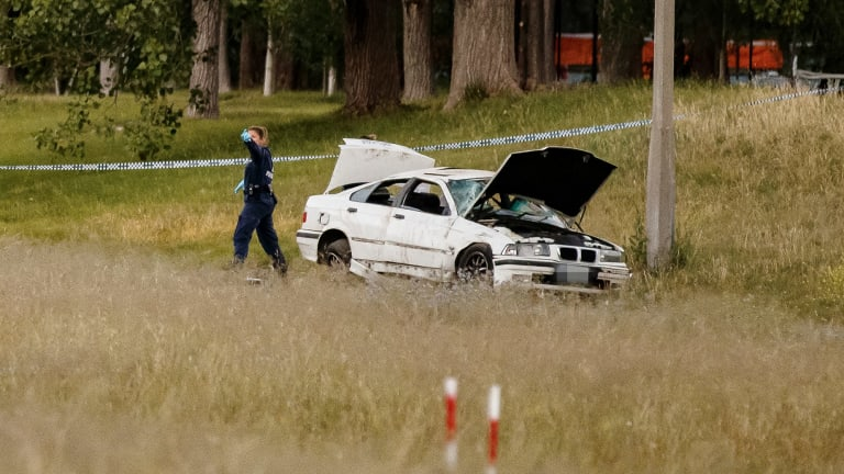 Police attend the scene of an accident on Yarra Glen in Hughes on Tuesday evening.