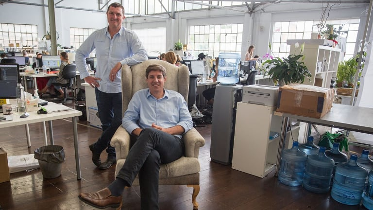Temple & Webster co-founders Brian Shanahan (right) and Adam McWhinney are trying to shake up the $12 billion ­homeware and furniture market by proving that consumers do not need to touch before they buy.