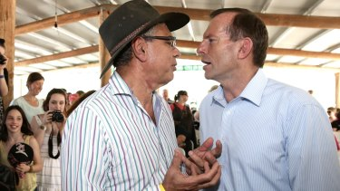 Warren Mundine with former prime minister Tony Abbott during the then opposition leader's visit to Arnhem Land in August 2013.