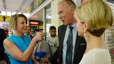 Kristina Keneally snuck up on John Alexander while he was campaigning in Eastwood Mall with Julie Bishop.