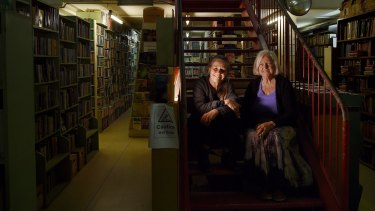 Natalie Gould (left) and her mother Mairi Petersen (right) fear the end is looming for their bookshop, Gould's Book Arcade, in Newtown.