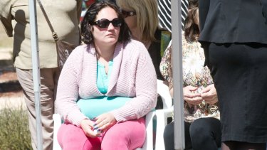 Peta-Ann Francis  at the funeral of her two-year-old daugher Nikki Francis-Coslovich.