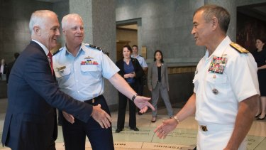 Malcolm Turnbull greets Admiral Harry Harris in New York in May, alongside Chief of the Defence Force Mark Binskin.
