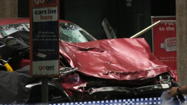 The crumpled car at the scene in Bourke Street after the carnage.