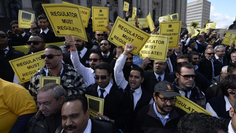 Taxi drivers striking in Melbourne.