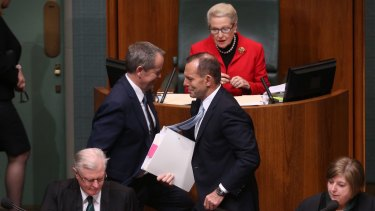 Old ways: Prime Minister Tony Abbott and Opposition Leader Bill Shorten during question time.