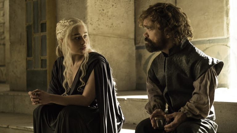 Daenerys (Emilia Clarke) talks about being single again with Tyrion Lannister.