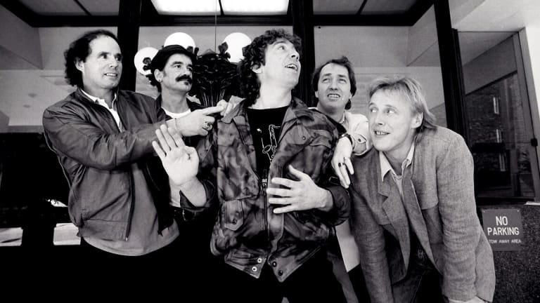 The Easybeats at a press conference at the Sebel Townhouse before embarking on a reunion tour of Australia in 1986.