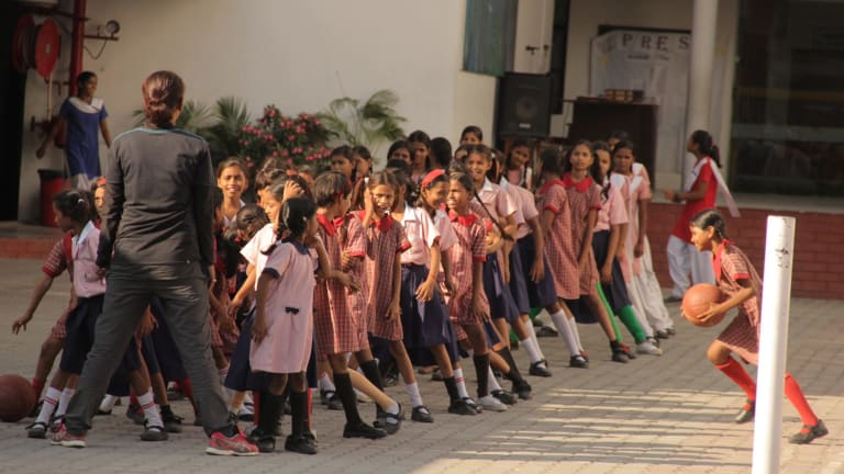 Students gather at the Prerna Girls School in Lucknow.