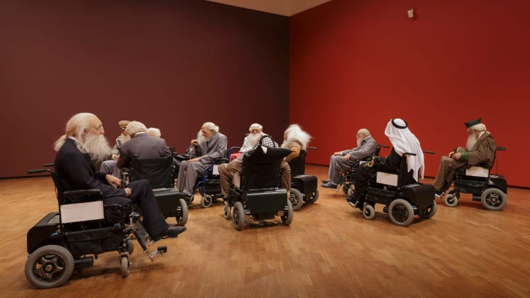 Installation view of Sun Yuan and Peng Yu's Old people's home in the Hyper Real exhibition at the National Gallery of Australia, Canberra.
