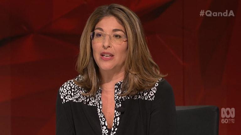 Canadian journalist Naomi Klein on Q&A.