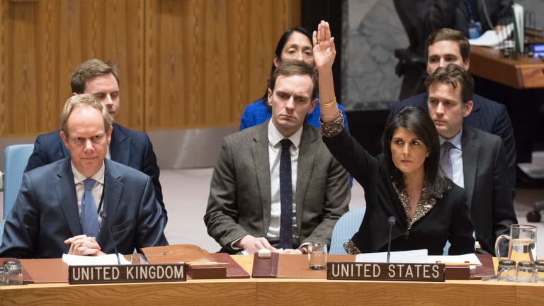 Alone on the UN Security Council, US Ambassador to the United Nations Nikki Haley votes against a resolution concerning Jerusalem's status.