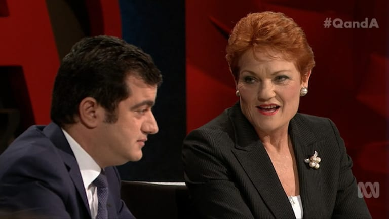 Pauline Hanson repeatedly asked Sam Dastyari if he was a Muslim on Q&A.