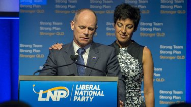 Campbell Newman and his wife Lisa address LNP supporters on election night. The Queensland premier lost his seat and his part lost government.