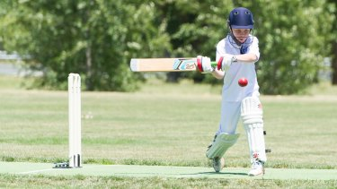 New format: Finn Carr of Marist College plays a shot during the trial of the new cricket rules used in the Canberra junior competition this year.