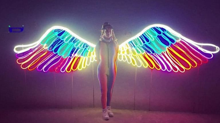 Katy Perry shared this image of Melbourne artist Carla O'Brien's wings which has gone global.