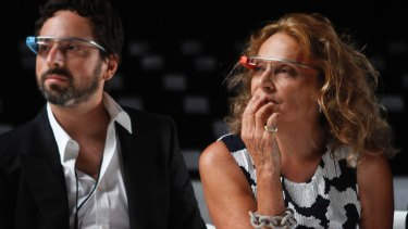Google co-founder Sergey Brin sporting Google Glass at during New York Fashion Week in 2013.