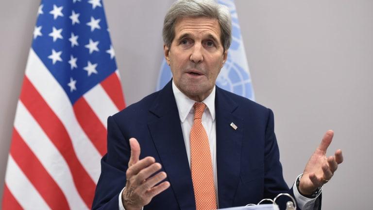 US Secretary of State John Kerry speaks to the media in Paris.