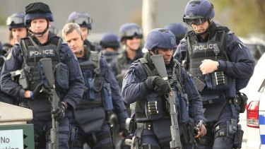 Victoria Police Special Operations Group outside the Metropolitan Remand Centre in Ravenhall.