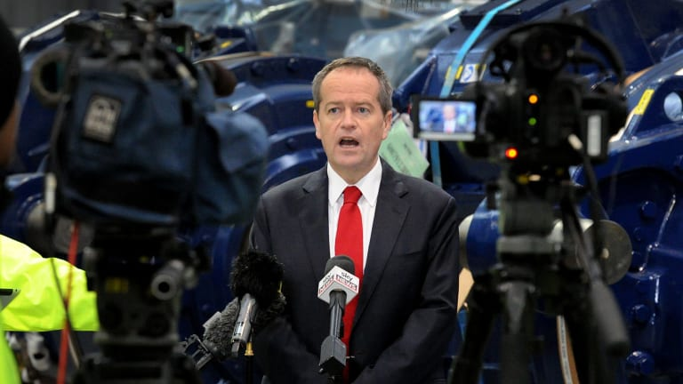 Federal Opposition Leader Bill Shorten speaks at a press conference during a visit to Vestas Wind Systems earlier this month.