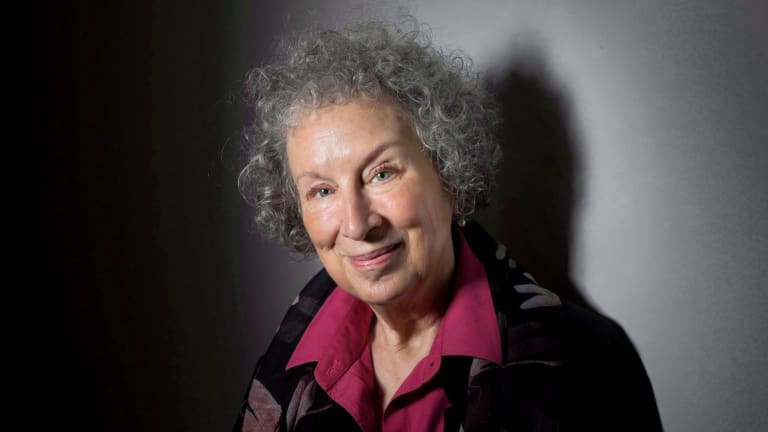 "FILE - In this June 9, 2015 file photo, author Margaret Atwood poses to promote her novel, ""The Heart Goes Last"" in Toronto. Atwood, marvels at how her 1985 novel, ?The Handmaid?s Tale,? has not only been given renewed life as a TV series but has also gained disturbing urgency. (Darren Calabrese/The Canadian Press via AP, File)"