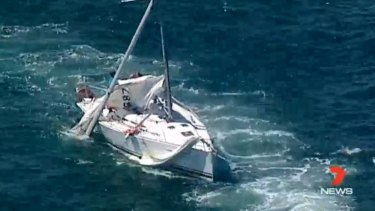 The yacht after the collision with a Manly ferry on Saturday.
