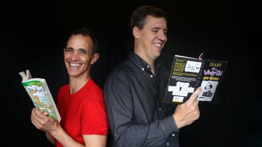 """Jeff Kinney (right) says many children's authors such as Andy Griffiths (left) or David Walliams are """"born performers""""."""