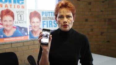Pauline Hanson spruiks the Newzulu app in her video.